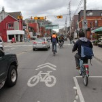 Sharrows Eastbound on Harbord approaching Spadina Ave.
